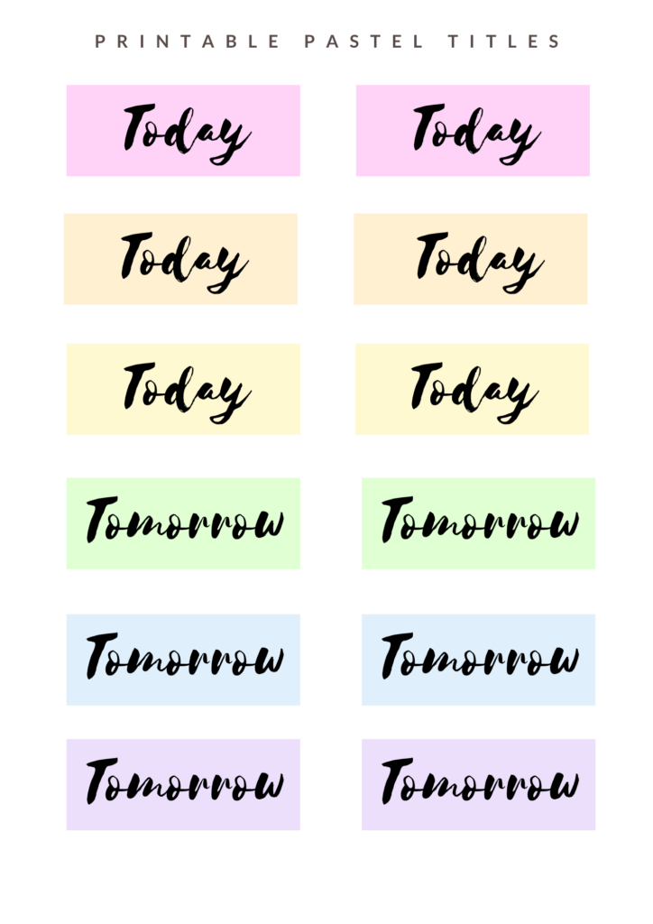 Pastel titles with fluorescent backgrounds