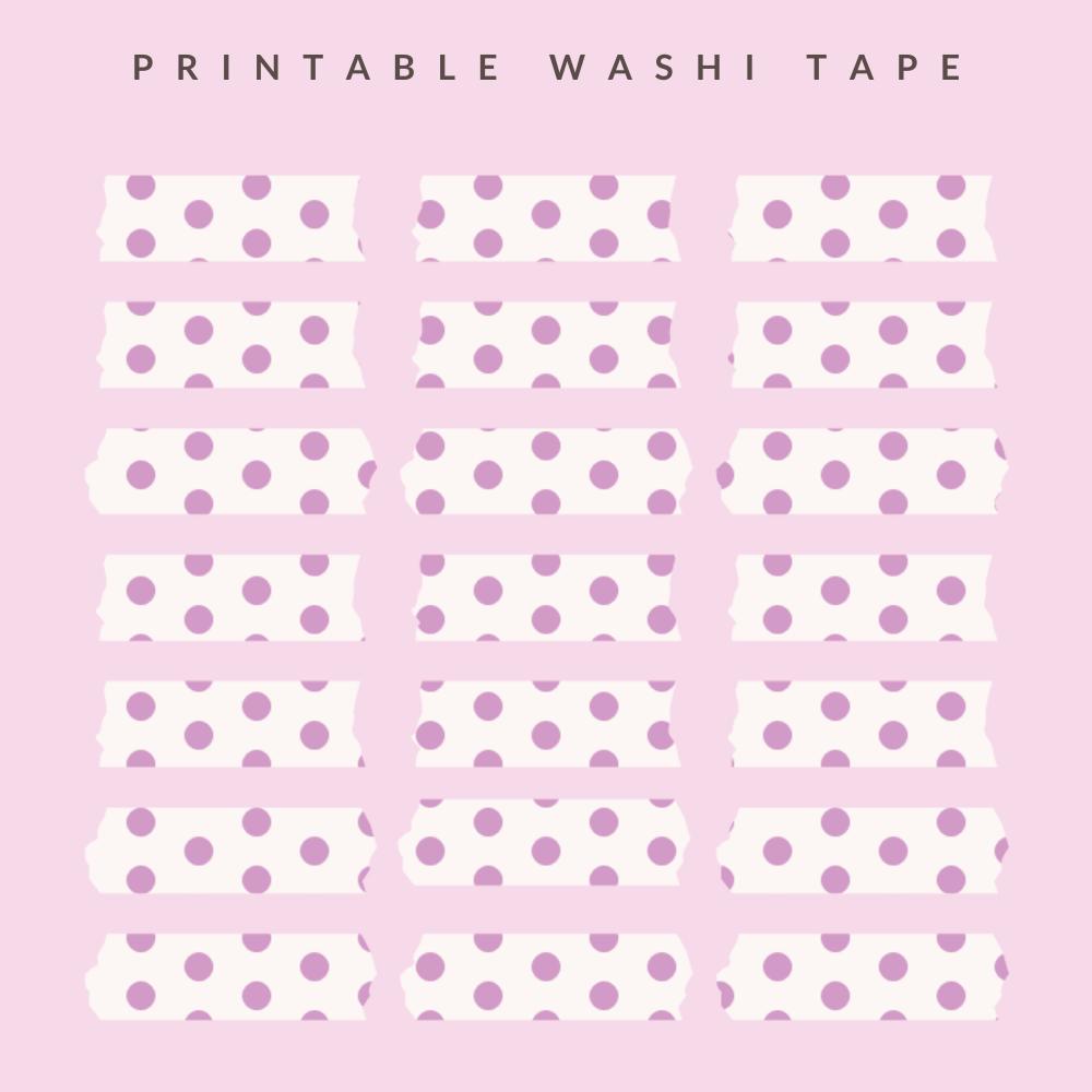 Washi tape with lilac polka dots
