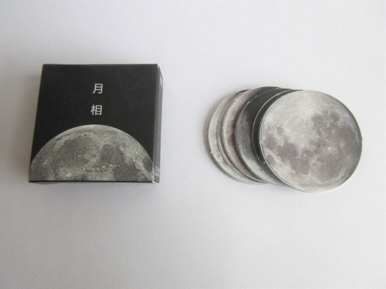 Moon stickers and their packaging