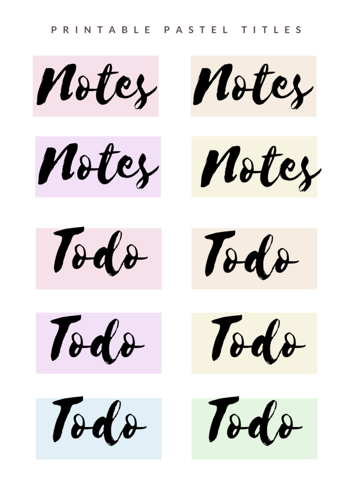 Notes and todo pastel titles