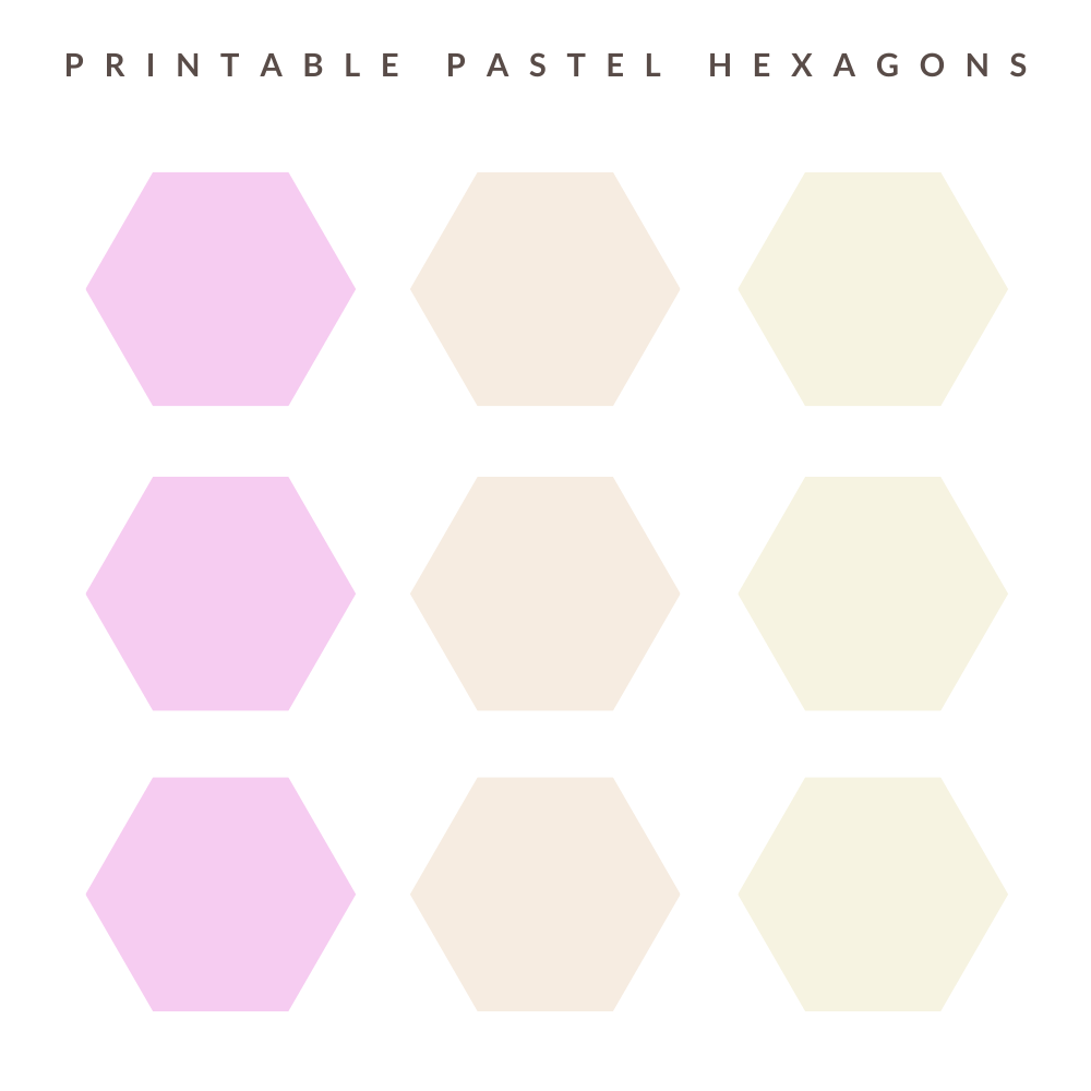 Pastel hexagons in pastel pink, orange and yellow colours