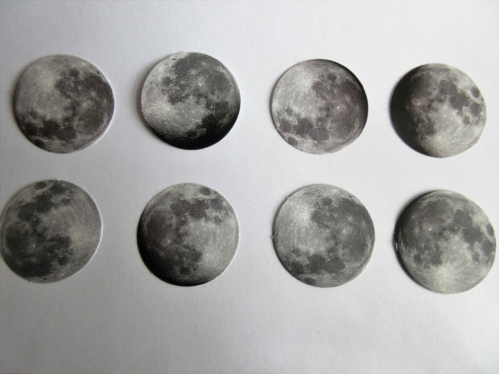 Moon stickers with different phases of the moon