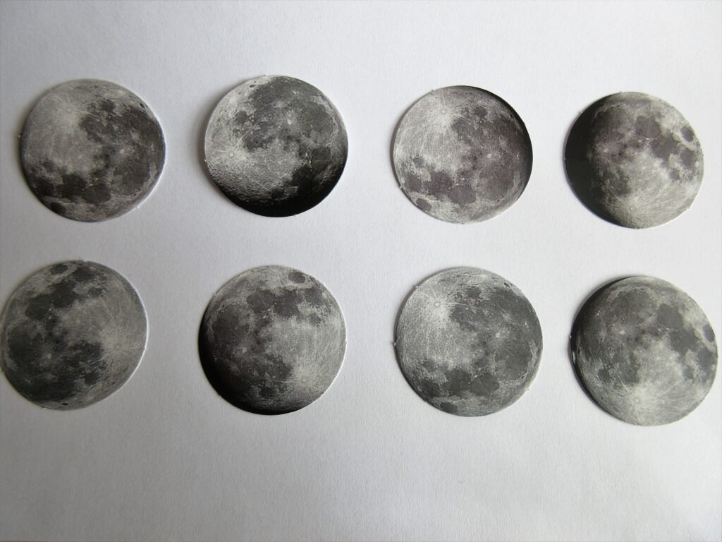 Various moon stickers, containing phases of the moon