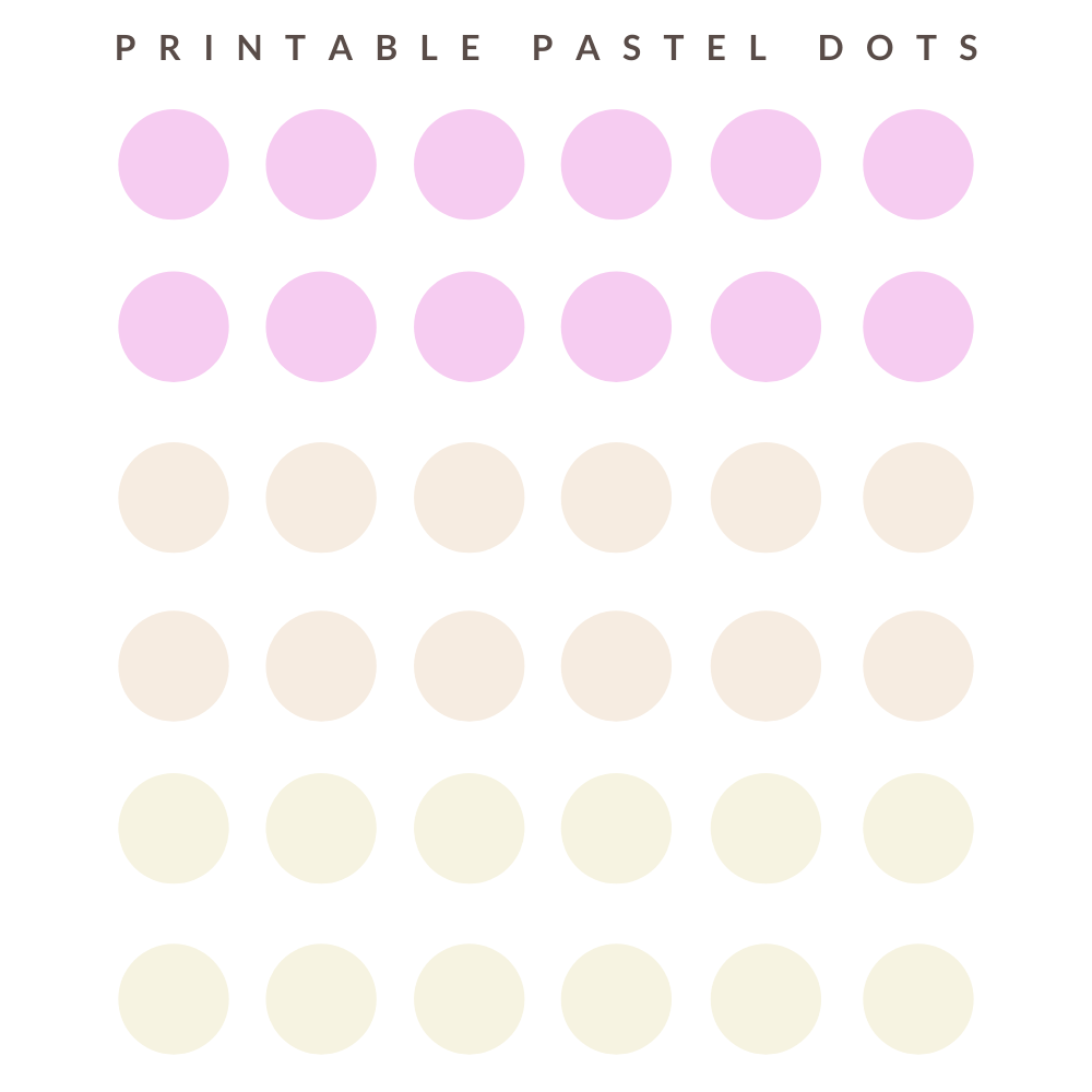 Pastel stickers printable with pink, orange and yellow dots