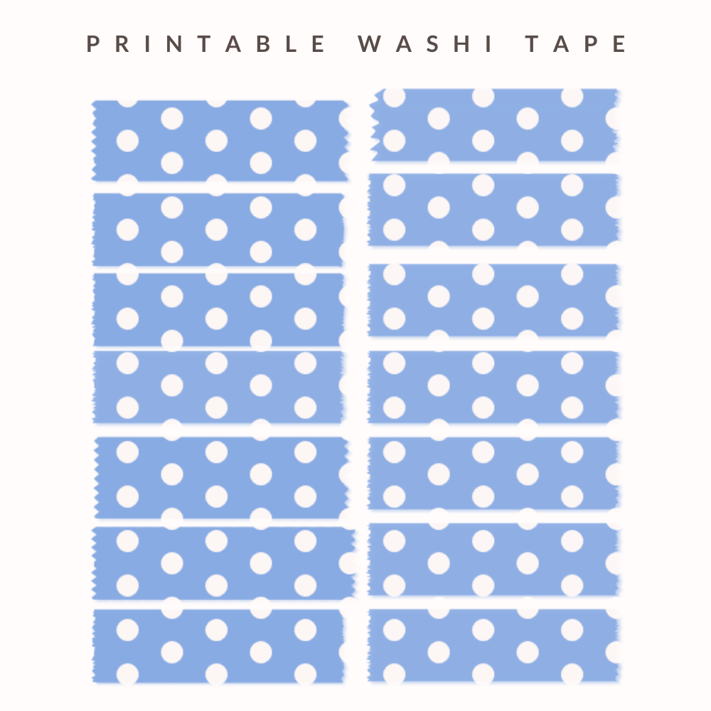 A cute stickers printable with blue washi tape with white dots