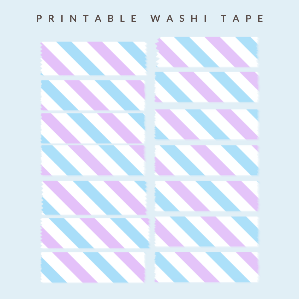 Washi tape with lilac and blue stripes