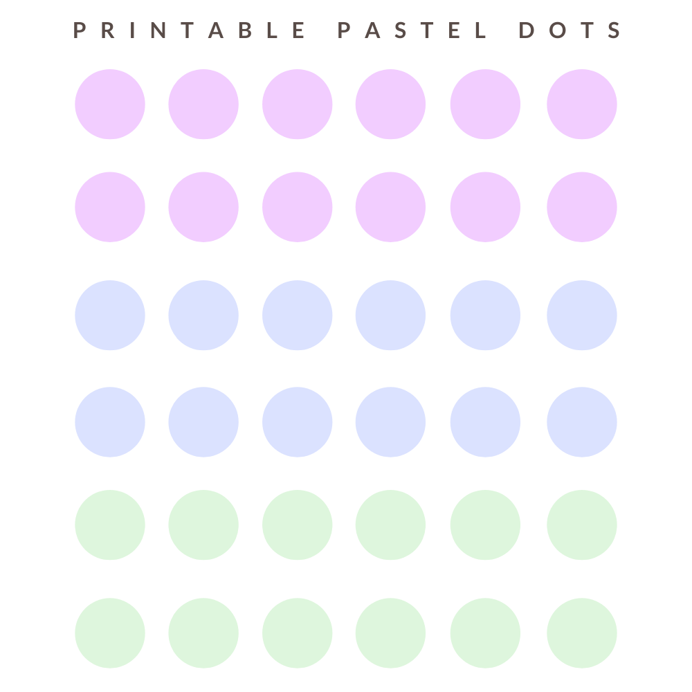 Pastel dots stickers printable