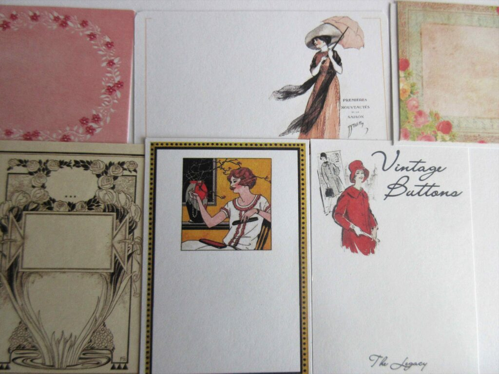 Vintage stickers with floral designs, and showcasing vintage fashion