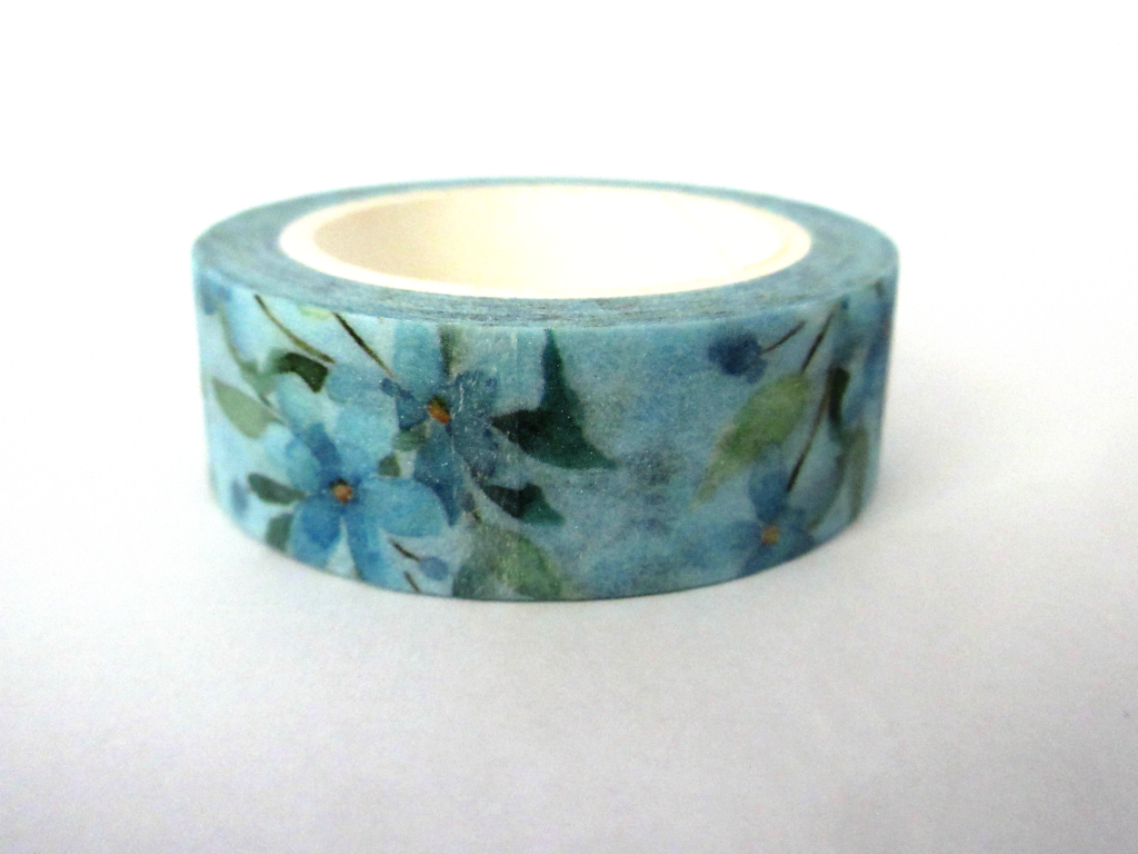 Washi tape with blue flowers