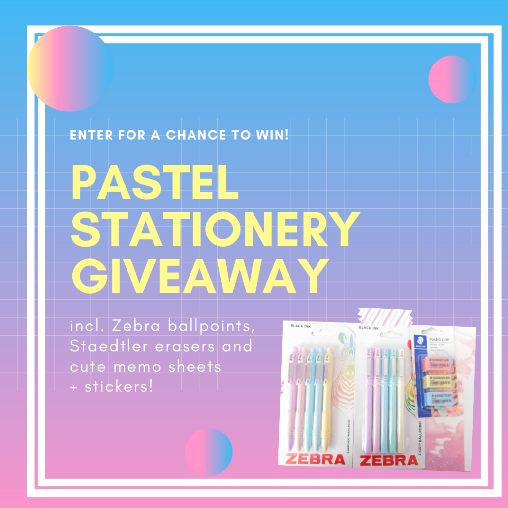 Pastel ballpoint pens and erasers